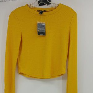 NWT Knit Yellow Long Sleeve Crew Neck Size S Top